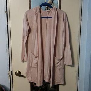 Maurices Light Pink Long Sleeve Long Cardigan